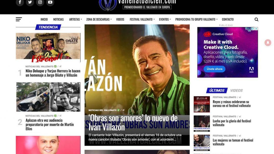 Diseño web de Vallenatoalcien